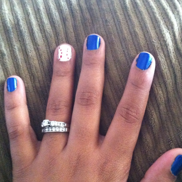 BASEBALL FAN! - dodger blue :) can be re created for any team but the lil baseball nail makes it fun !  I imagine footballs too :)