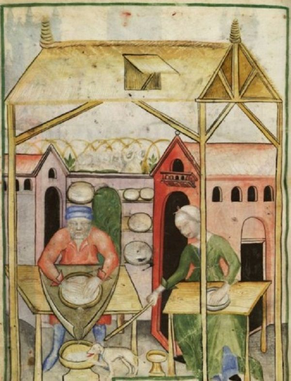 Making Fresh Cheese - Tacuinum Sanitatis (BNF NAL 1673), c. 1390-1400