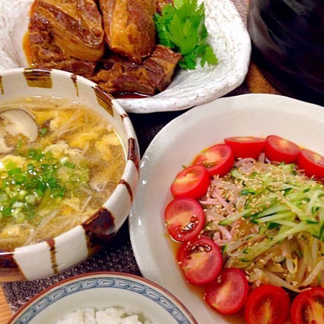 豚の角煮 もやし キュウリ ハム ミニトマトの中華サラダ 椎茸 えのき ネギの中華卵スープ 新米  いただきま〜す - 121件のもぐもぐ - 晩ご飯 by Demisuke