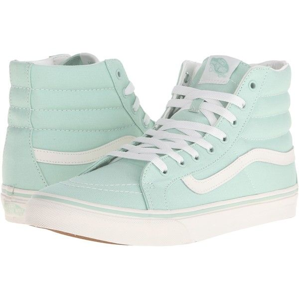 Vans SK8-Hi Slim (Gossamer Green/Blanc de Blanc) Skate Shoes ($45) ❤ liked on Polyvore featuring shoes, sneakers, blue, vans shoes, leather high tops, vans high tops, blue leather sneakers and blue shoes