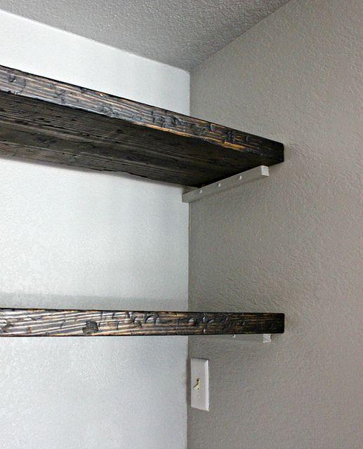 How to fake reclaimed wood & make (fake) floating shelves.