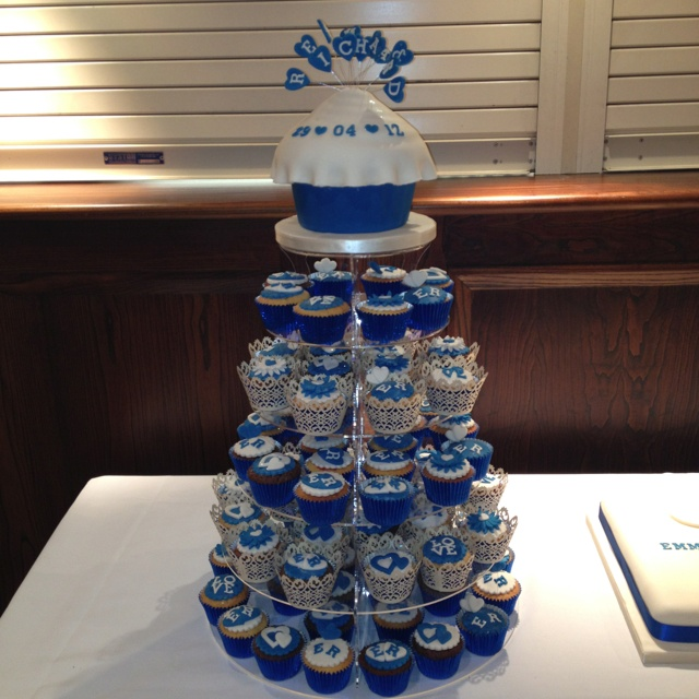Wedding Cake Ideas Royal Blue: Giant Cupcake And Cupcakes For Wedding In Royal Blue And