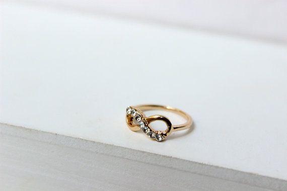 Anello infinito anello dorato anello midi anello di Stonivine