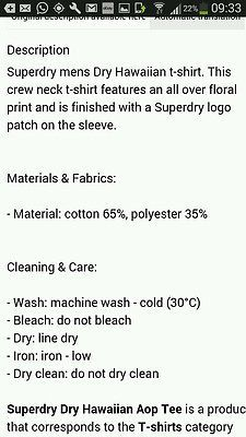 Super dry hawian t shirt size xl