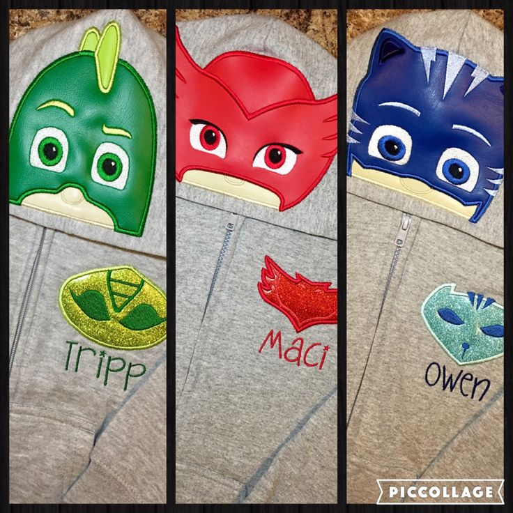PJ Masks Inspired Hoodie Zip Jacket -Kids thru Adult Sizes - Gekko, Owlet, Cat Boy, Luna Girl by IrresistiblEmbroider on Etsy https://www.etsy.com/listing/262264701/pj-masks-inspired-hoodie-zip-jacket-kids