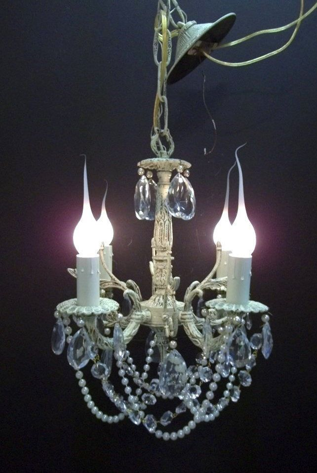 211 best vintage antique lighting images on pinterest vintage petite ivory white crystal chandelier 4 light girls room chandelier pearl crystal swags nursery chandelier aloadofball Image collections