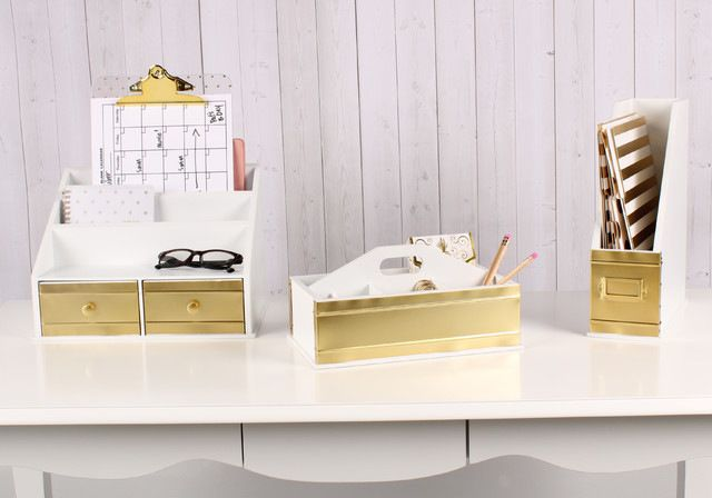 Desktop File Folder Organizer With 2 Drawers, White and Gold contemporary-desk-accessories