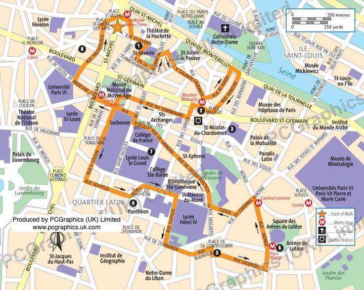 Best Nine Paris Walk Maps Images On Pinterest Walking Champs - Paris map quarters