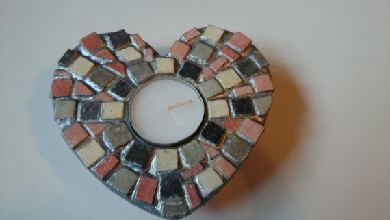 Grey Heart Tea Light Candle Holders by MostlyMyMosaics on Etsy