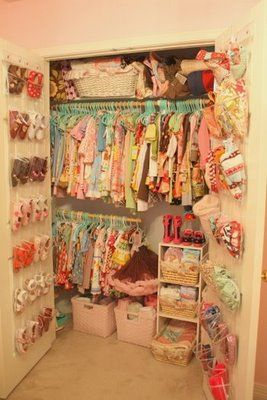 Closet organization by little pumpkin grace: a sweet vintage inspired little girl's room.