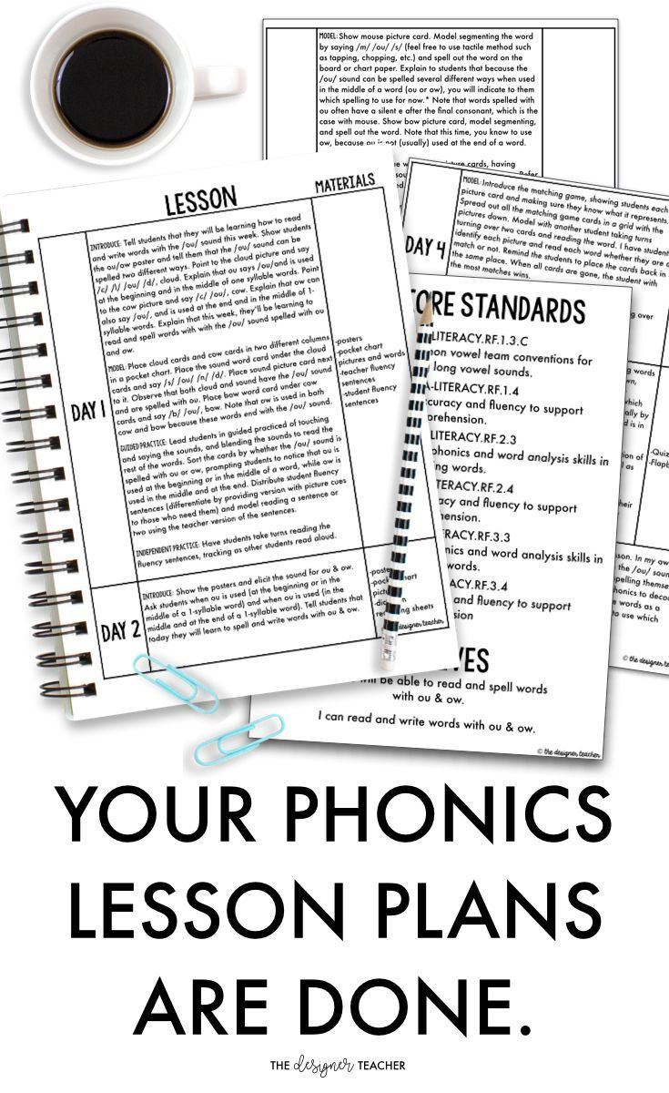 Your phonics lesson plans are done... for the whole year. So are your phonics assessments, small group work, and games. Get all this and more at a discounted price with the Phonics by Design Curriculum.