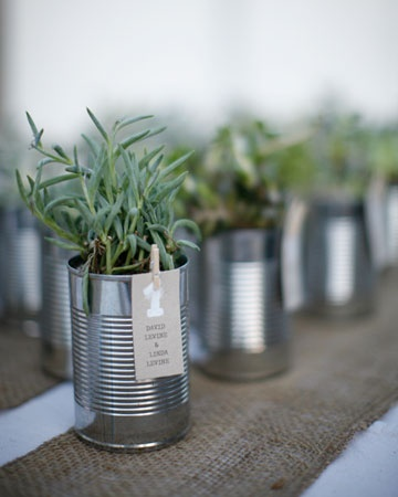 upcycled food cans as wedding favors or reception centerpieces