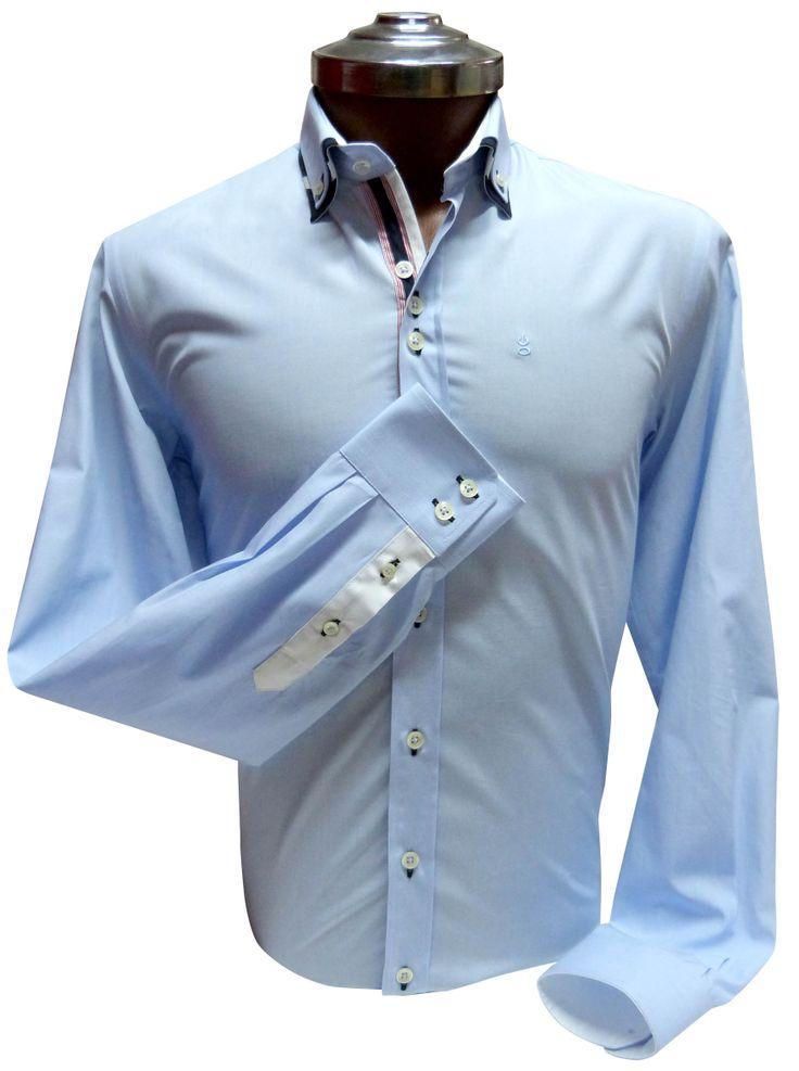 Camisa Celeste 100% algodón, detalle de doble cuello y aplicación en pechera. Ehgho - Perú