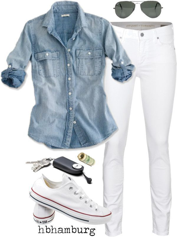 classic look. denim button up paired with white chuck taylors #style #fashion. This is so me;)