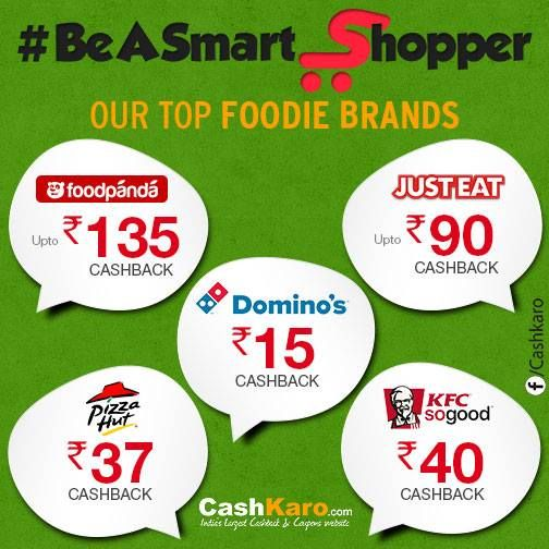 Here are 5 of our Top Foodie Brands! Which is your favourite out of the lot?  Order your food online, save money & earn Cashback on each order! #BeASmartShopper with Cashkaro.com. Join here: http://bit.ly/1k9TPRu.