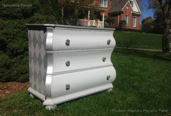 Platinum Silver Diamond Harlequin Pattern on Dresser | Modern Masters Metallic Paint | Project by Heavenly Pieces