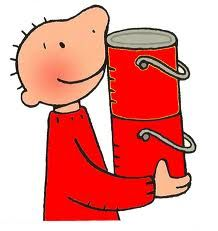 Jules heeft rode potten verf.