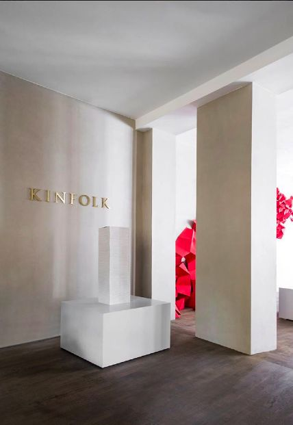 Sneak peak at pre-launch party the Kinfolk Gallery's grand opening. A space designed by NORM.Architects, who created leather seat cushions for alcoves and window sills. Sorensen Leather: Royal Nubuck / Off White. Photo: Jonas Bjerre-Poulsen / #normarchitects #kinfolkgallery #kinfolk #theredsocial #sorensenleather