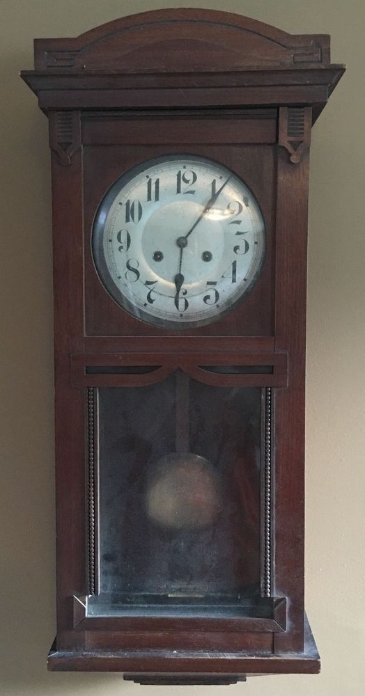 Antique Junghans A11 1890s Wall Clock German Oak Mahogany