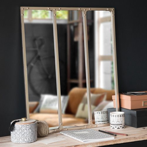 Miroir triptyque en métal cuivré 64x74
