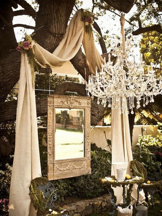 Vintage Glamour / Wedding Style Inspiration for an outdoor wedding using recycled goods
