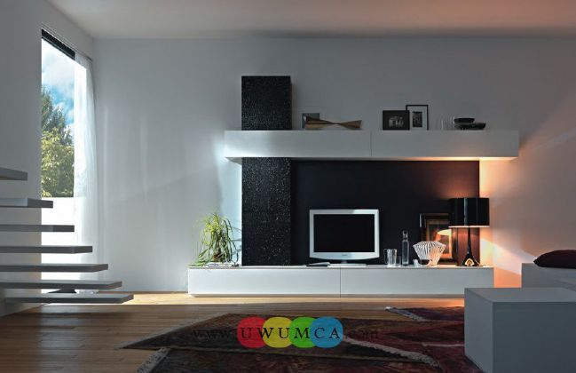 Living Room:Modern TV Wall Units 04 In Black And White Colors Decorating  Brazilian Living