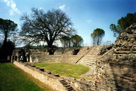 """The Roman Theatre One of the best preserved Roman theatre buildings of the Marche dated back of the Augustian age. Archaelogical Park """"Falerio Picenus"""" FALERONE, Italy"""