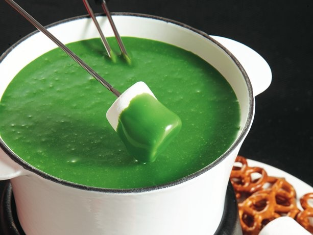 Green Cauldron Fondue  This looks like a great Halloween party chocolate treat! **TAKE NOTE that this is not for the kiddies, as the recipe calls for Kahlúa. Total Halloween Happy Hour Madness, unless you make it alcohol free!