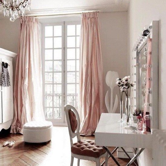 French doors, silk curtains, and white accents are just a few of the reasons this feminine room is an Instagram favorite for 2012.  Source: Instagram user laclosetdesigns