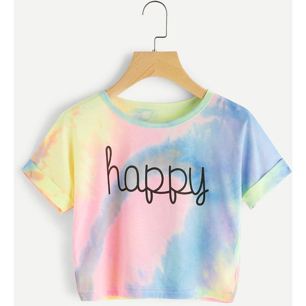 Water Color Letter Print Cuffed Tee (20 BRL) ❤ liked on Polyvore featuring tops, t-shirts, romwe, multicolor, short sleeve t shirt, long-sleeve crop tops, sports t shirts, polyester t shirts and slim fit t shirts