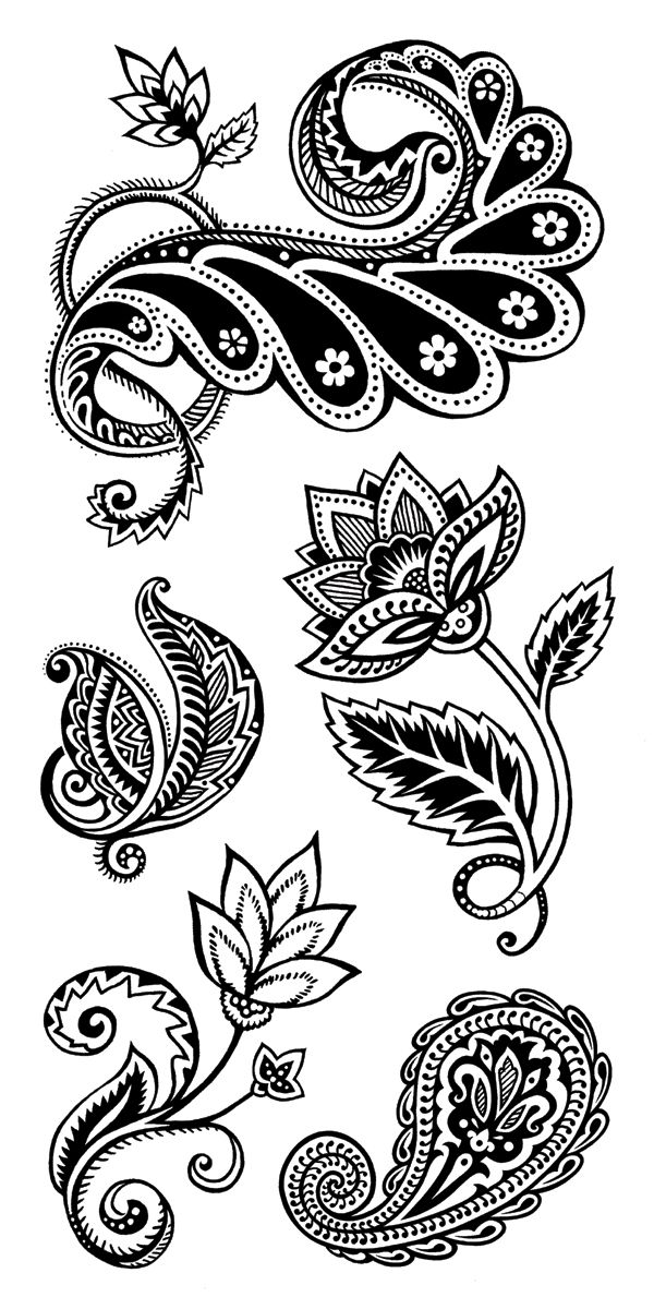 Inkadinkado Clear Stamps ORGANIC FABRIC FLOURISH 99533 5 XL STAMPS FLORAL