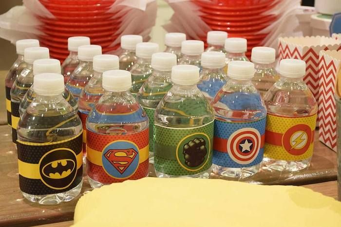 Superhero themed 4th birthday party : Water Bottles - Visit to grab an amazing super hero shirt now on sale!