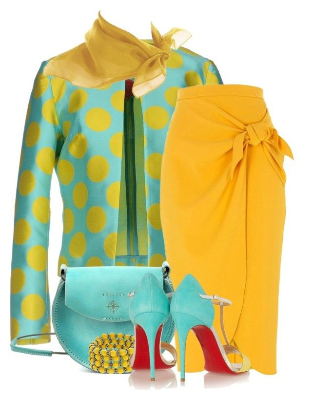 """Mustard Skirt"" by flowerchild805 ❤ liked on Polyvore featuring Ultra'Chic, River Island, Old Trend and Christian Louboutin"