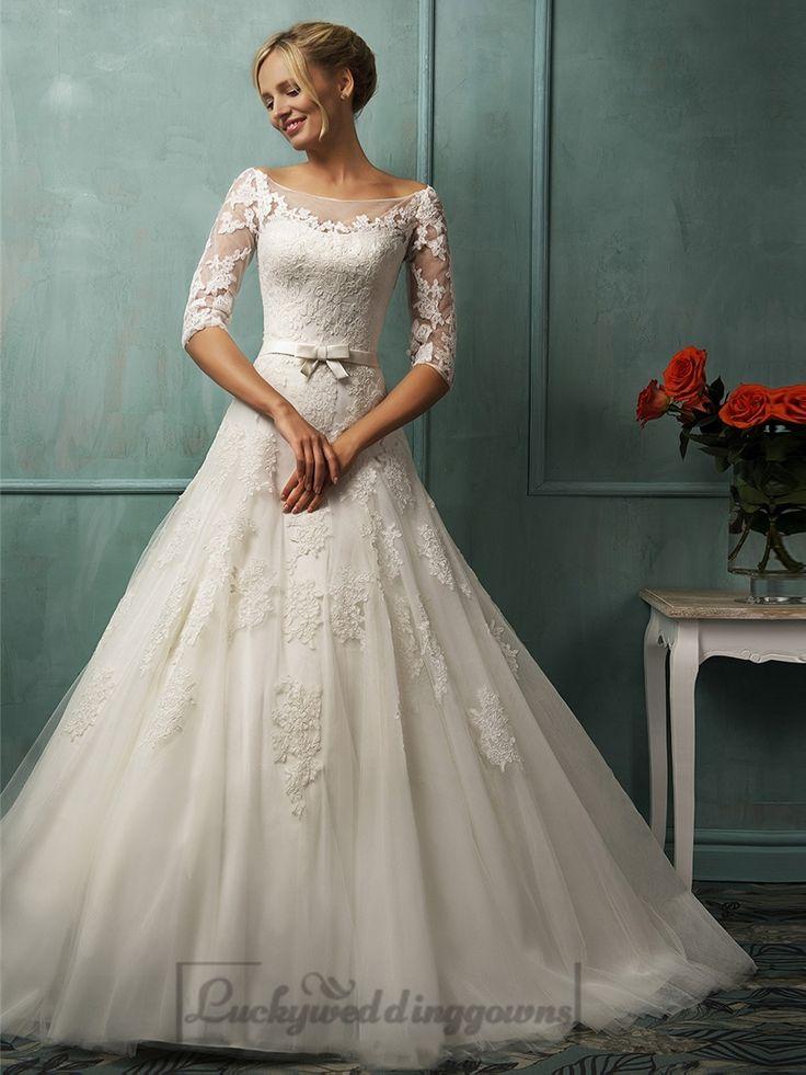 Half Sleeves Illusion Bateau Neckline A-line Lace Wedding Dress with Keyhole Back