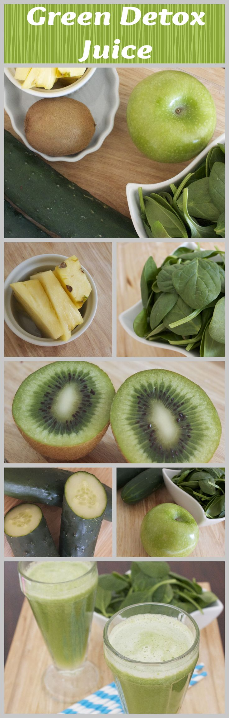 Kiwi recipe  green juice to help detox-apples, cucumbers,kiwi,pineapple and spinach