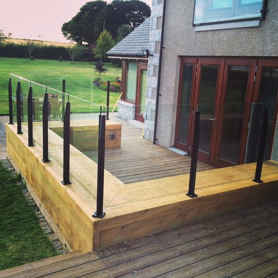 Image result for wooden and glass balustrade system uk