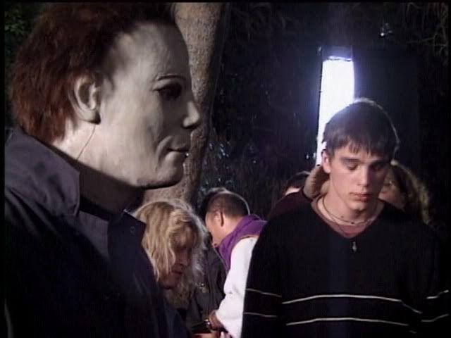 chris durand michael with josh hartnet during the filming of halloween h2o 1998 - Halloween H20 Theme