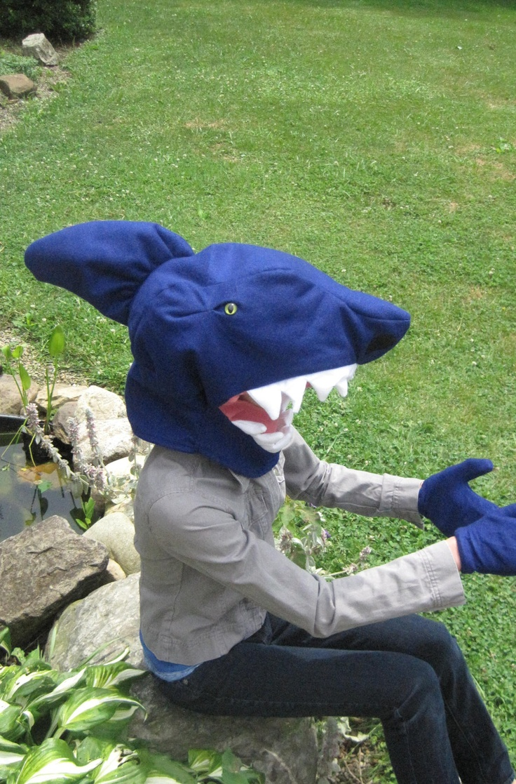One size fits most Shark Head Costume with gloves. $34.99, via Etsy.