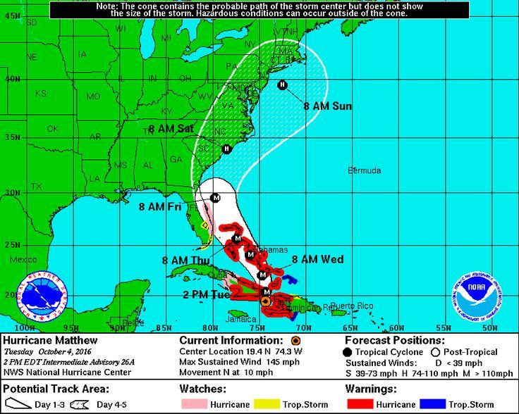 Hurricane MATTHEW 2PM Intermediate ADVISORY UPDATE - http://www.nhc.noaa.gov/graphics_at4.shtml?5-daynl#contents #hurricanematthew #hurricaneupdate #kauffsweb