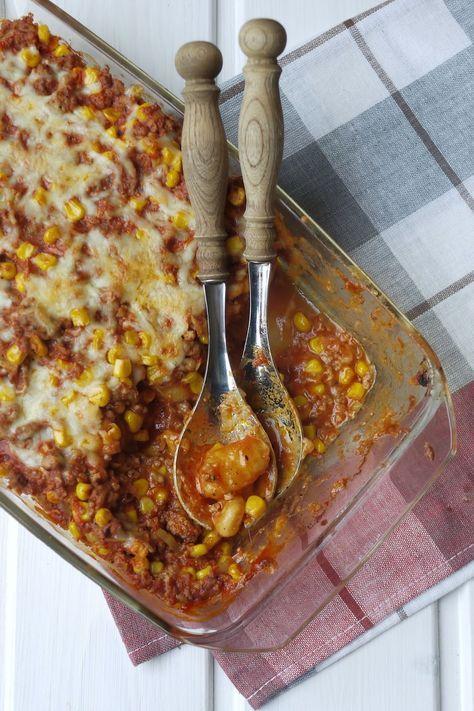 Gnocchi-Hack-Auflauf, Auflauf, Gnocchi, Hackfleisch, Kochen, Mais