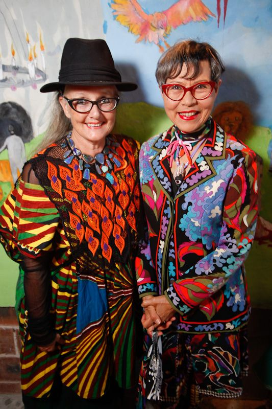 Linda Jackson and Jenny kee, Australian fashion icons at the Romance Was Born store opening. I used to go to their shop, Flamingo Park, at the Strand Arcade Sydney back in the day.