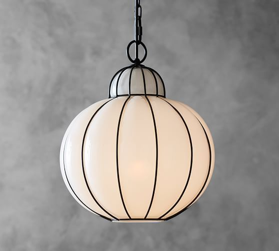 Camille Milk Glass Caged Pendant | Pottery Barn