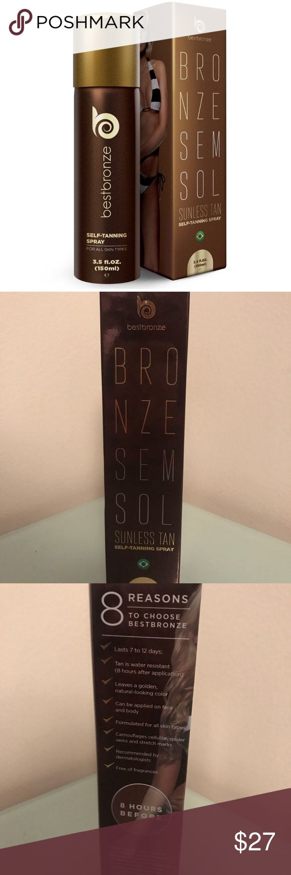 NWOT Best bronze bronze sem sol self tanning spray Hi all- selling this brand new and unopened self tanning spray. Please see below for an elaborate description from the site:  Best Bronze is voted by Glamour Brazil the #1 Self-Tanner, and now it's available in the United States.This product is a result of German and Swiss cosmetic technology combined with the latest skincare innovations. Suitable for all skin types. Use on body and face, enjoy perfect tanning spray performance with no…