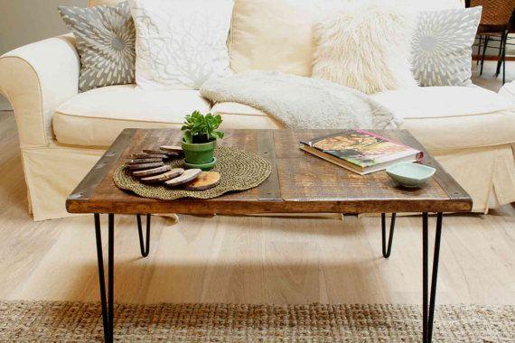 Mesa de centro de madera recuperada con tiras incrustaciones de metal, mesa de centro industrial, mesa de centro urbano, mesa de madera recuperada, aspecto vintage