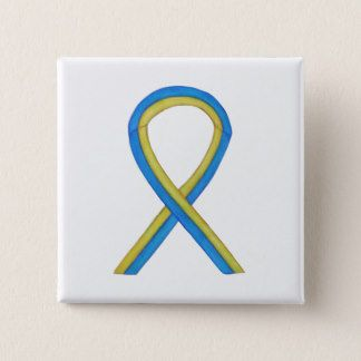 Blue and Yellow Ribbon Awareness Custom Pin  - The meaning of the yellow and blue awareness ribbon is support for Down's Syndrome.