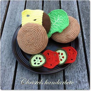 Christels handarbete: Virkad Hamburgare med tillbehör, Crochet hamburger
