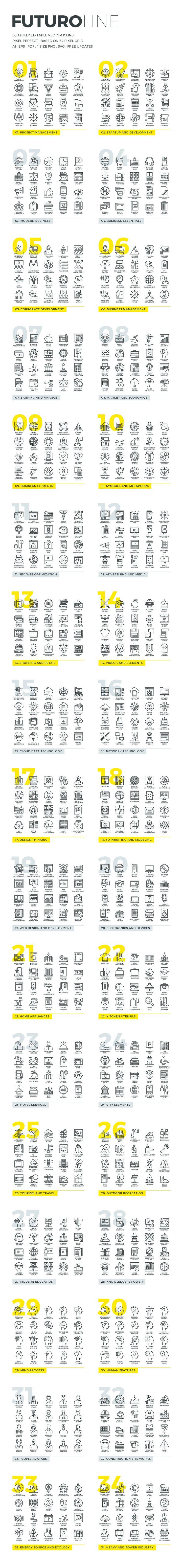 Futuro Line Icons by Bloomua on Creative Market