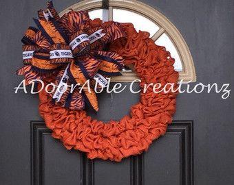 Deco Mesh Auburn Wreath Auburn Wreath by CreationsbySaraJane