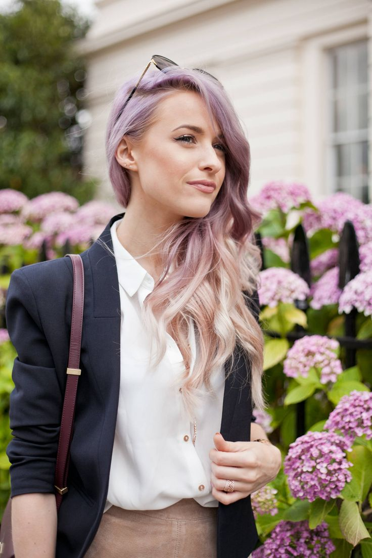 Lilac purple to a blonde ombre in curls