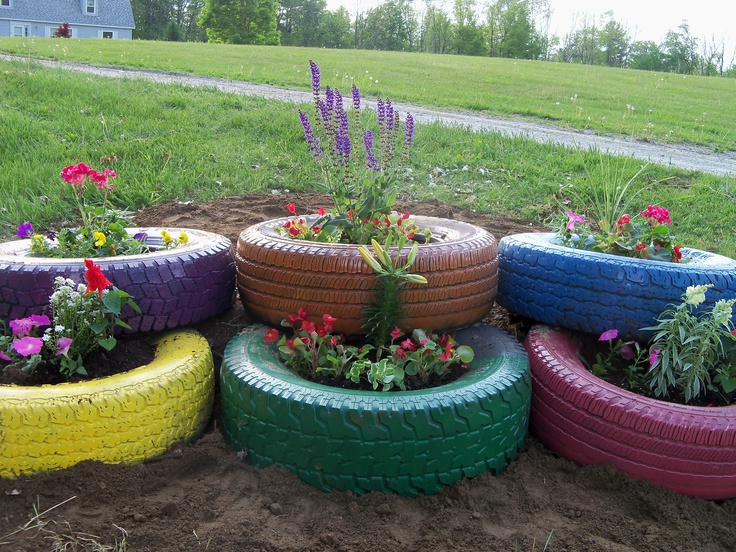 Landscaping With Tires : Tire flower garden we made today